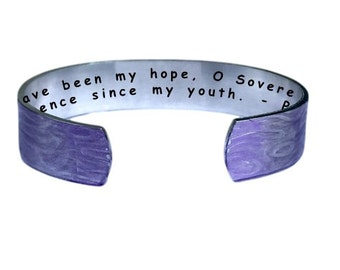 For you have been my hope, O Sovereign LORD, my confidence since my youth. Psalm 71:5 Cuff Bracelet Personalized Jewelry Hand Stamped Purple