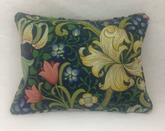 Morris and Co Golden Lily Midnight Green DMFPGL204 16x16 &16x12 Cushion Covers Self Piped