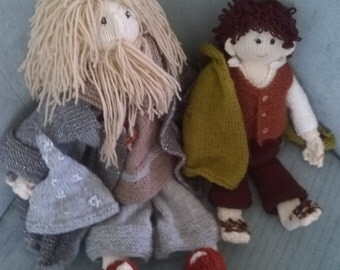 Hand-Knitted Gandalf and Frodo