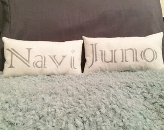 Customized Small Pillow with Pet Name in Silver Letters