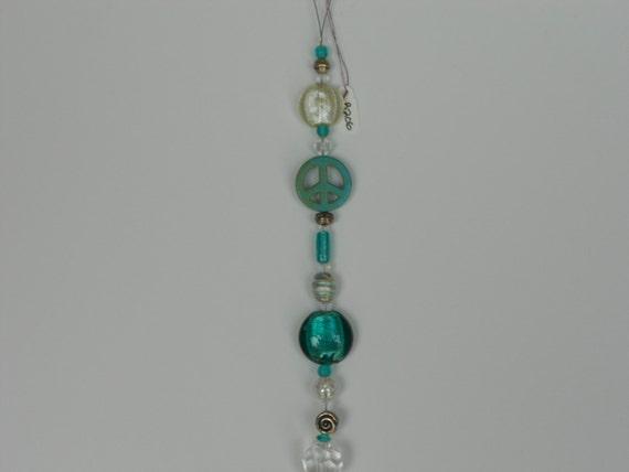 beaded suncatcher howlite peace sign glass beads