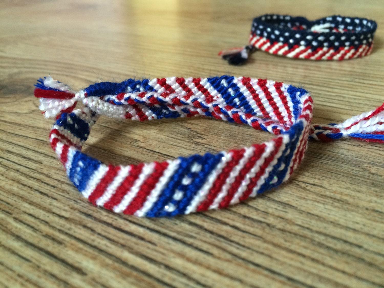 Friendship bracelet 4th of july usa by poplarfriendbracelet for Patriotic beaded jewelry patterns