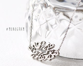 Monogram Necklace 925 Sterling Silver Lucky Numbers Pendant Jewelry
