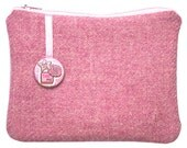 Harris Tweed Pink Purse with Liberty of London Gallymoggers Reynard Alice in Wonderland Print Lining