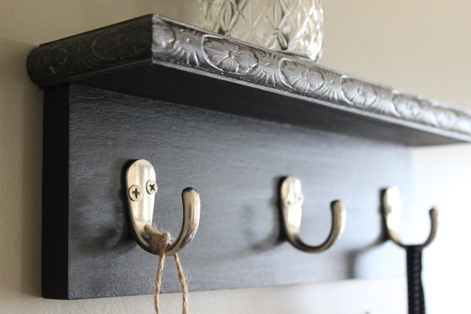Decorative Wall Shelf Key Holder Black And Silver By