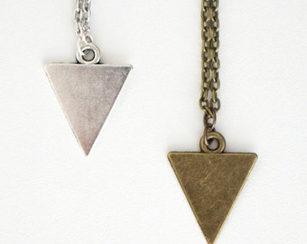 Minimalist Triangle Necklace // Antique Silver Triangle Necklace // Antique Bronze Triangle Necklace // Geometric Triangle Necklace
