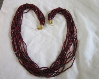 Vintage Retro 12 Strand Glass Beaded Sparkly Necklace