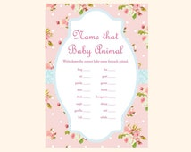 Baby animal game, Name that baby animal game, baby animal baby shower game, Shabby Chic Baby Shower Games Printables, Rose Baby Shower TLC43