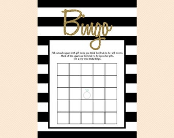 Bingo, Bridal Gift Bingo Card, Black, Black and White Stripes, Gold Glitter Bingo, Printable Bridal Shower Bingo, Wedding Shower Games BS27
