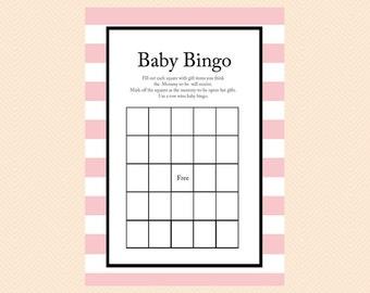 Bingo, Baby Gift Bingo Cards, Printable Baby Shower Games, Pink, Baby Girl, Modern, Unique Baby Shower Games,  Baby Shower Activities TLC03