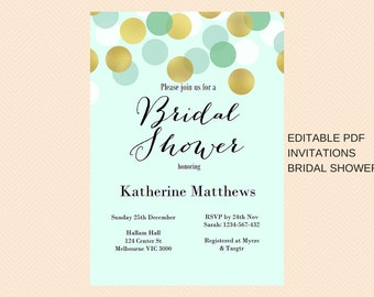 Editable Bridal Shower Invitations, Mint and Gold Confetti Bridal Shower Invitations, Modern Chic Bridal Shower, BS47