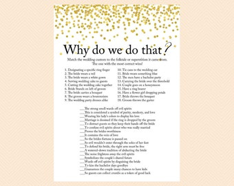 Why do we do that, tradition game, wedding tradition game, Why we do that, Gold Confetti Bridal Shower, Bachelorette, Wedding Shower BS46