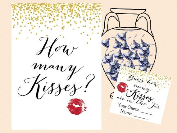 How many Kisses Sign, Guess how many Kisses there are in a jar, Gold ...: https://www.etsy.com/listing/233768951/how-many-kisses-sign-guess...