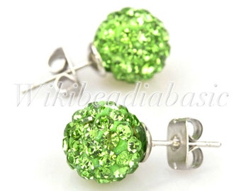 1pair Round Light Green Crystal  Pave Rhinestone Earstuds Earrings Beads Size 10mm SL0009-10