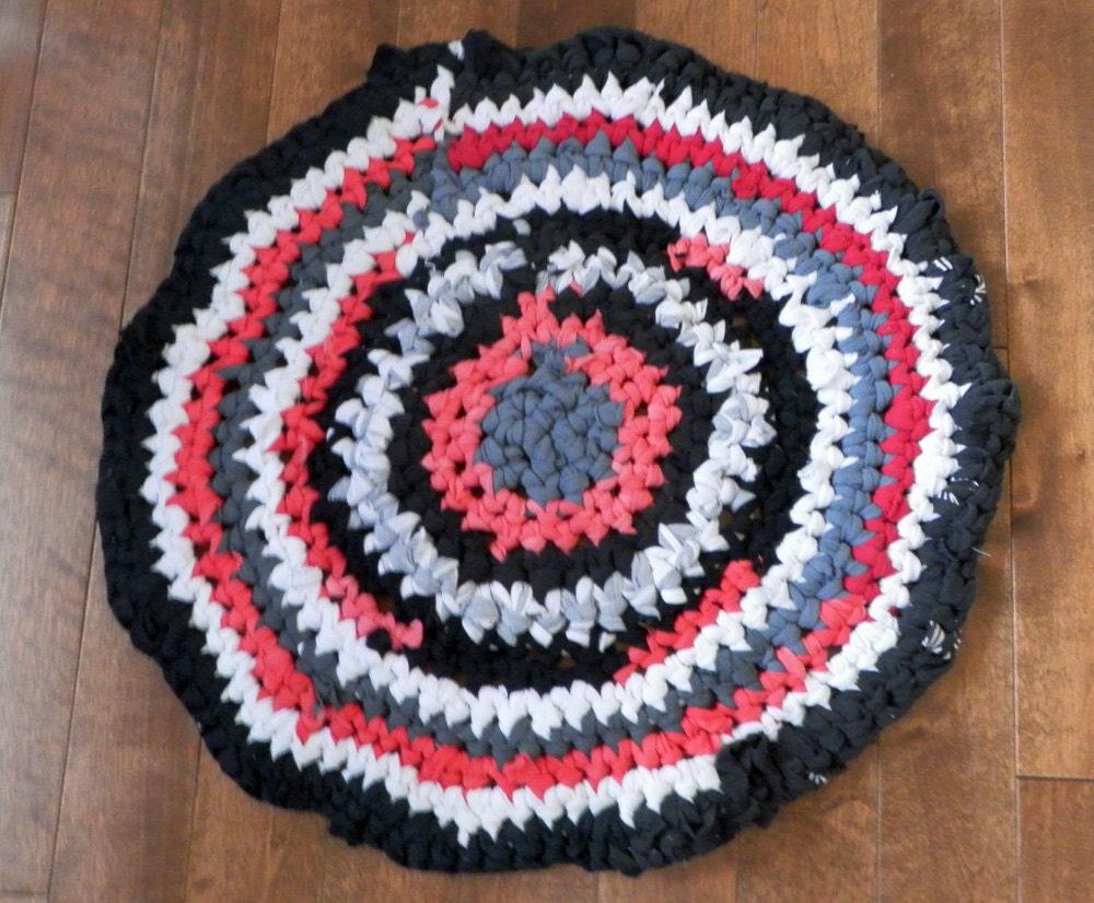 Round Rag Crocheted T Shirt Circular Hippie Rug By The1608shop