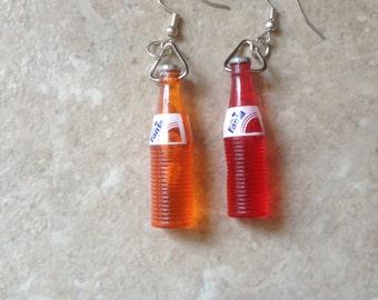 Kitsch retro cute soda bottles Dangly Earrings