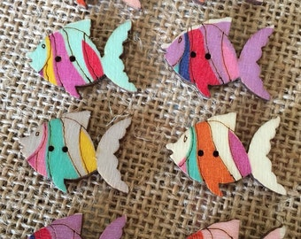 Pack of 8 Wooden Pastel coloured Fish Buttons