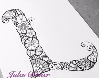 "Digital Coloring Page - Letter L from ""Letter Doodles"" Coloring Book"