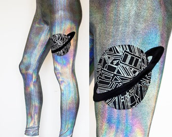 Holographic Iridescent Burning Man Men's Leggings Meggings with Geometric Saturn Galaxy Planet