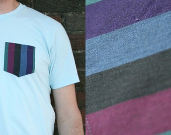 Bold Dark Stripes Pattern Reclaimed Pocket Tee - Custom Shirt
