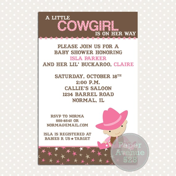 little cowgirl baby shower invitations premade digital card invite