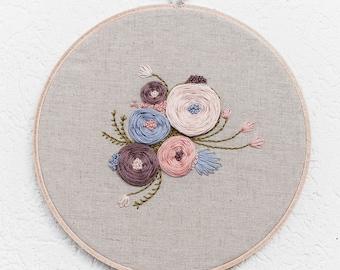 Garden Floral ~ 7' Handmade Embroidery Hoop Art