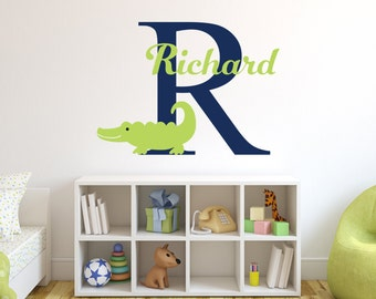 Name Wall Decal - Alligator Wall Decal - Boy Custom Name Decal - Baby Room Decor - Nursery Wall Decals Vinyl