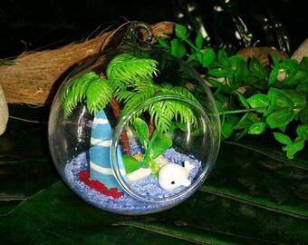 Glow in the dark ~ 'White whale' Terrarium Design,HANDMADE,'Home decor, beach design & decoration!