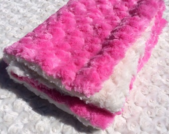 Pink and White Minky Lovey/Security Blanket