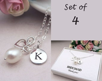 Bridesmaids Gifts Set Of 4, Personalized Bridesmaid Necklaces, Sterling Silver, Freshwater Pearl Wedding Jewelry, Message Card