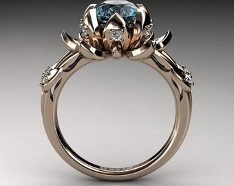 nature inspired 14k rose gold 20 carat oval blue topaz diamond lotus flower engagement ring r1013 - Lotus Wedding Ring