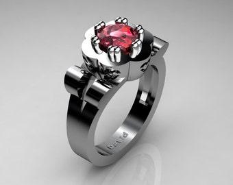 Nature Inspired 14K White Gold 1 Carat Ruby Flower Engagement Ring R1010-14KWGR