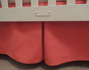 Coral Crib Skirt with Pleat