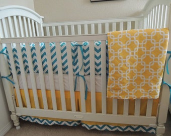 Turquoise and Yellow Baby Bedding Set