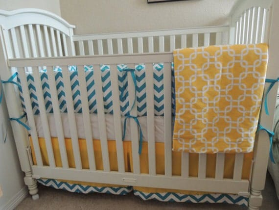 turquoise and yellow baby bedding set. Black Bedroom Furniture Sets. Home Design Ideas