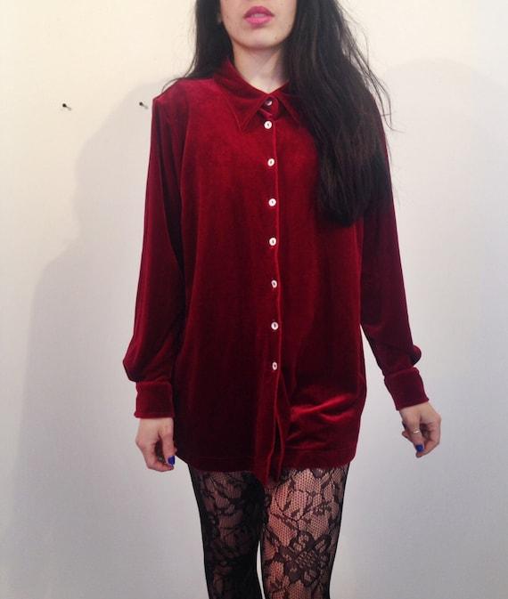 Long vintage red velvet button up blouse for Red velvet button up shirt
