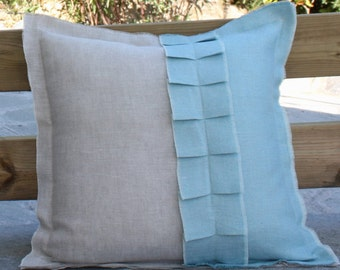 Linen natural pillow with border and ruffles in aqua blue color.18''x18''(45x45cm)