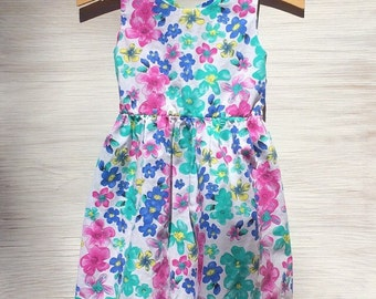 Vintage Neon Floral Dress