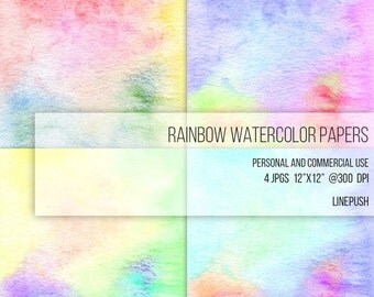 SALE! Rainbow Watercolor Papers. Digital papers. Watercolor backgrounds, Tie dye colors. Stained background. Textured paper.