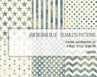 Americana Blue Digital Papers Seamless Patterns Scrapbooking Background Stars and Stripes Hearts Polka Dots Anchor Wallpaper Vintage Rustic