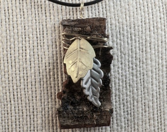 One of a kind birch bark necklace with 2 metal leaf beads