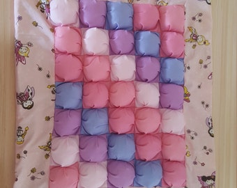Baby girl pinks and purples fairy puff patch/biscuit/bubble quilt