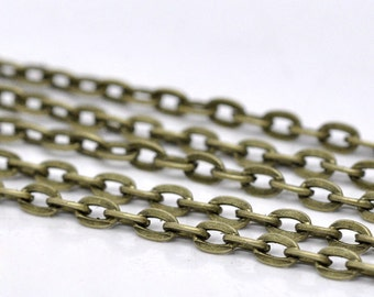 Antiqued Bronze Flat Link Chain | 5mm x 3mm | CH1036