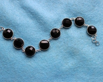 Round Black Gemstone Bracelet
