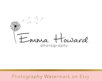 Instant download logo - DIY Premade Logo - Photography Watermark - Photography Logo - Whimsical Logo - Dandelion Logo - Flower Logo 105
