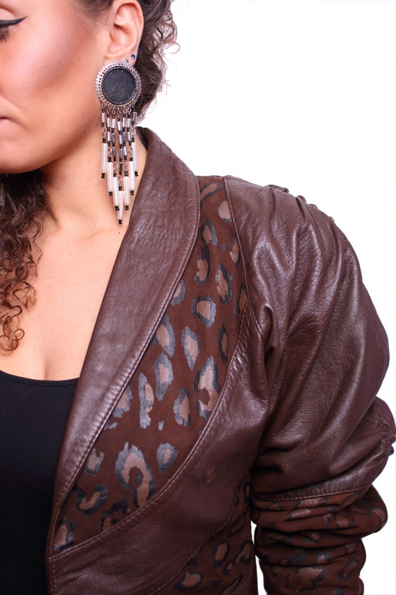 SALE 80s Brown Cropped Leather Jacket with by ILOVEYOURJACKET