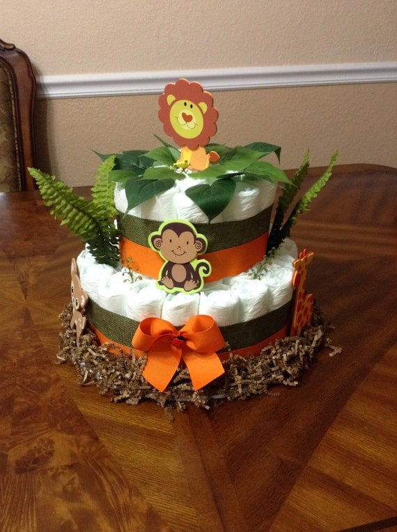 Safari Diaper Cake Safari Baby Shower Big Diaper Cake