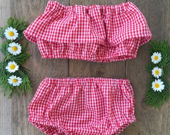 Two Piece Checkered Sunsuit