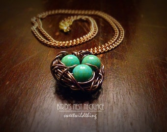 Bird's Blue Egg Nest Rustic Necklace