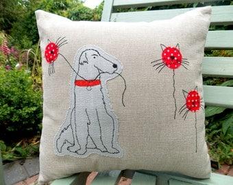 Irish Wolfhound Applique Cushion.